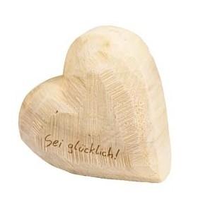 Holz Herz Pappel natur 15x15cm Sei glücklich