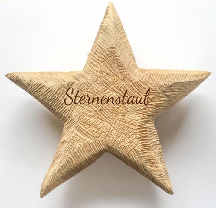 Holz Stern Pappel natur 20x20 Sternenstaub