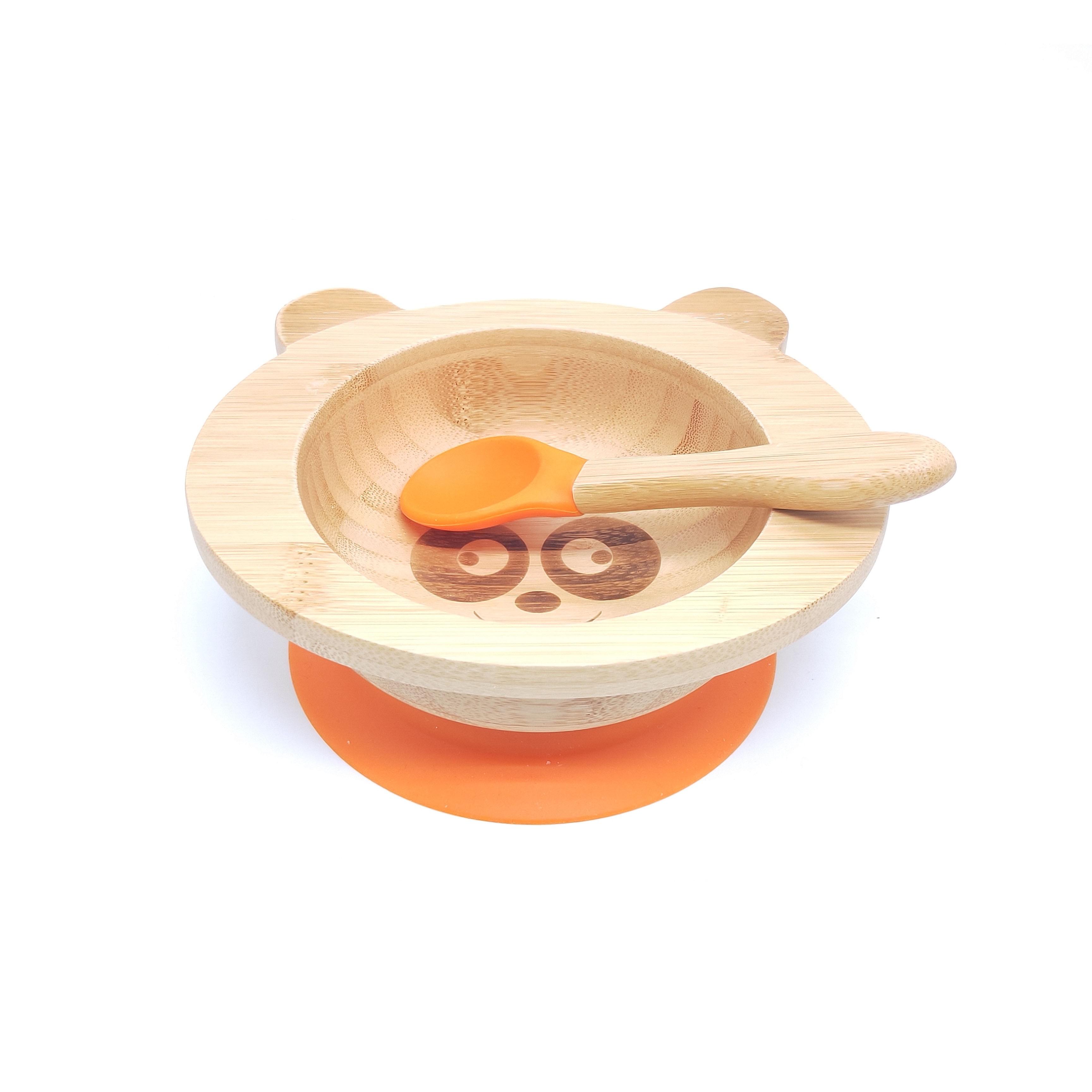 Kinderschüssel mitSilikonboden Bambus / Orange