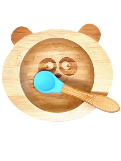 Kinderschüssel mitSilikonboden Bambus / Blau