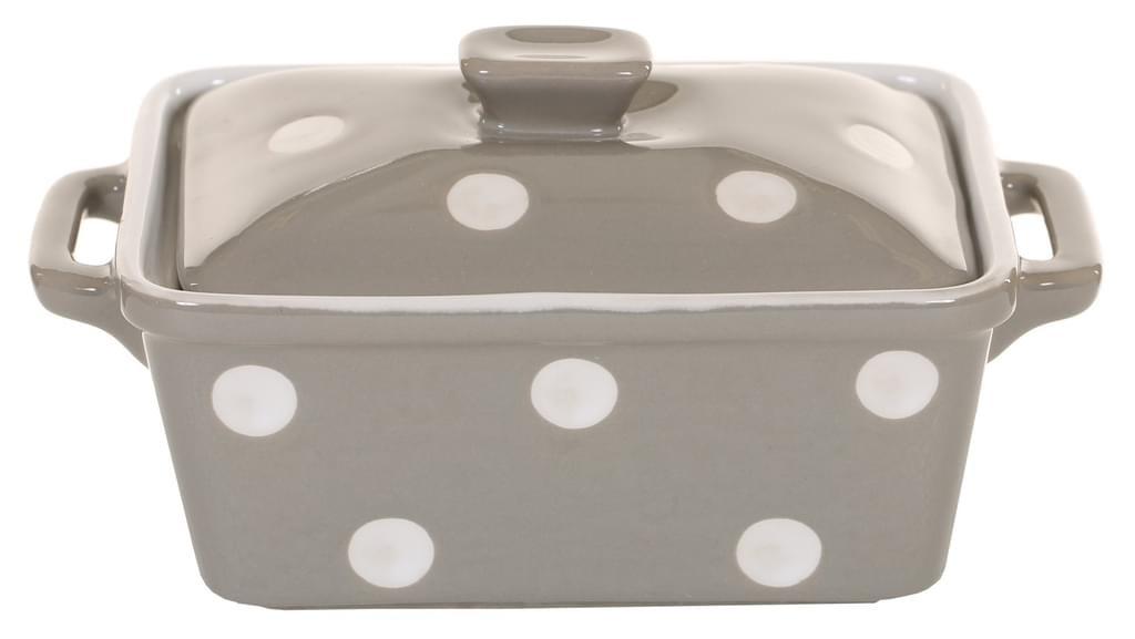 Butterdose oder Auflaufform Keramik BEIGE mit weißen Punkten