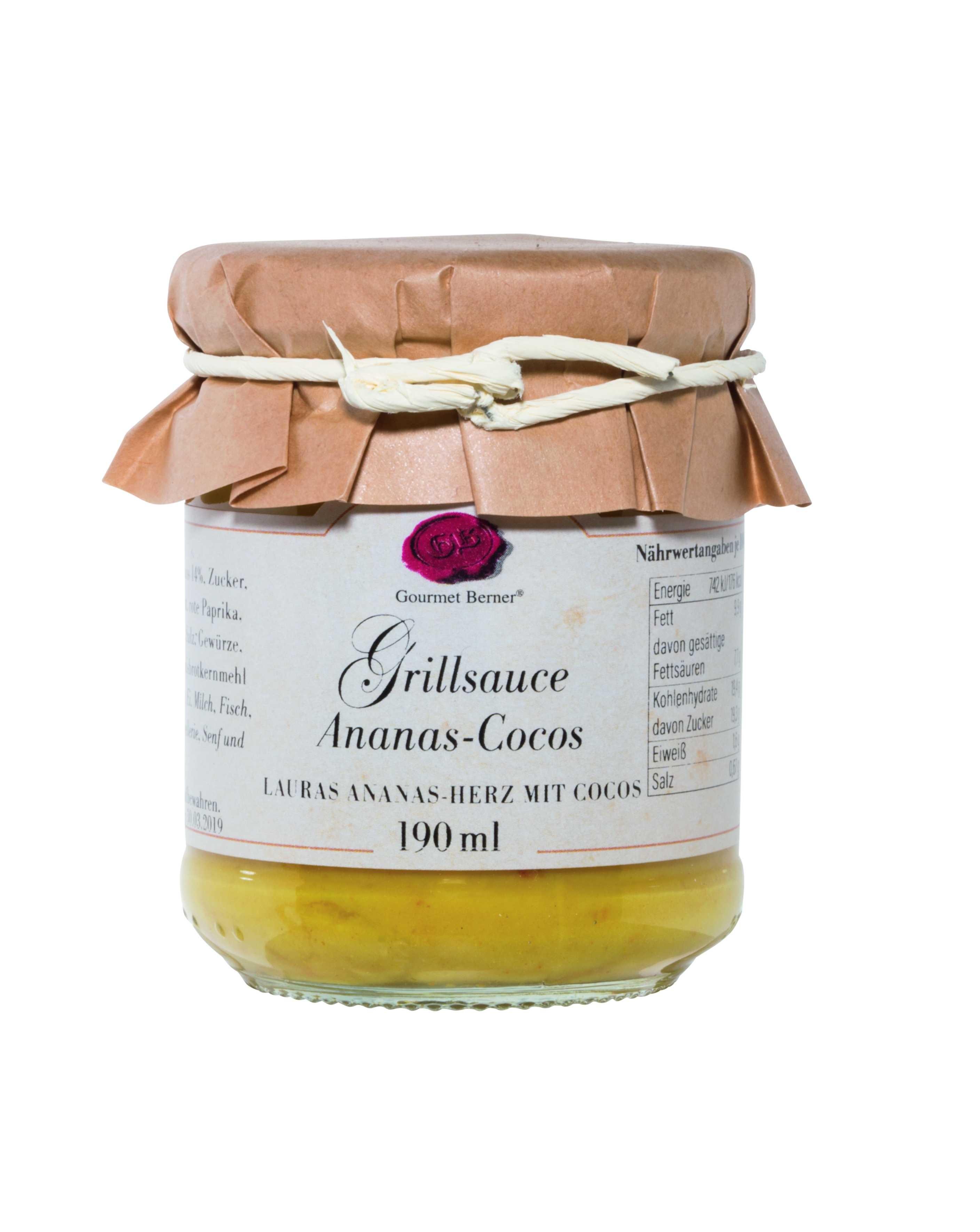 Grillsauce Ananas Cocos (Lauras Ananas-Herz mit Cocos Grillsauce), 190ml Glas