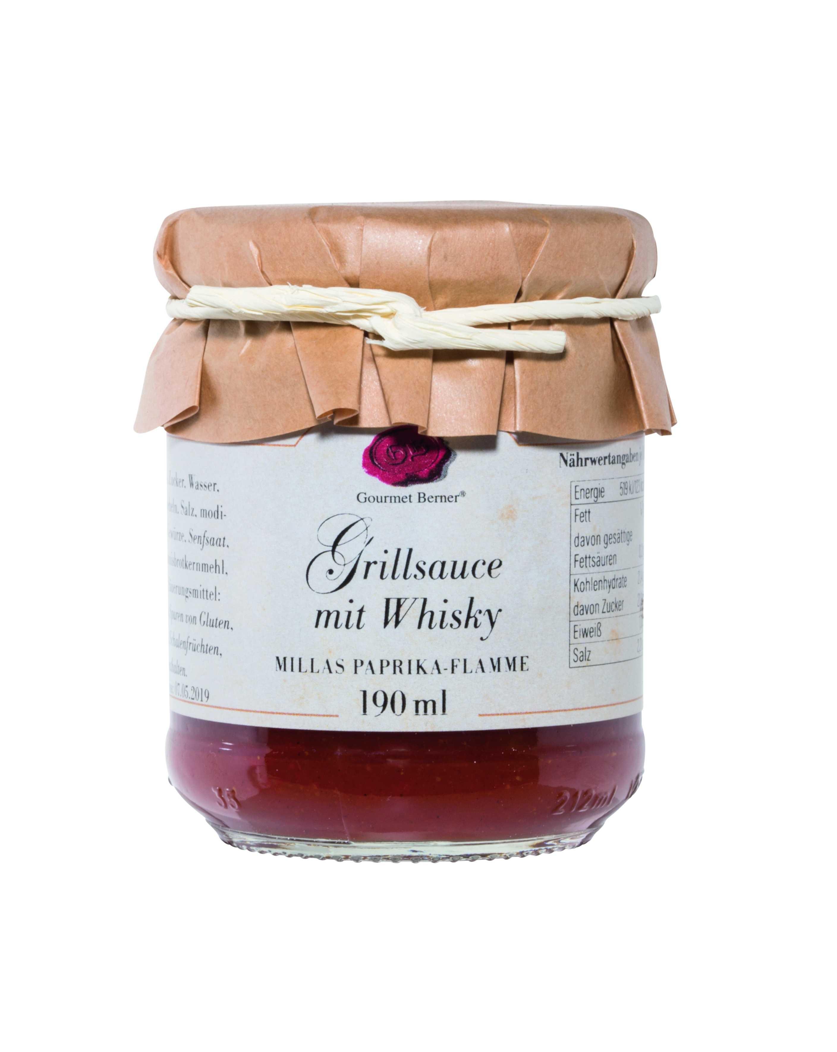 Grillsauce mit Whisky (Millas Paprika-Flamme Grillsauce), 190ml Glas