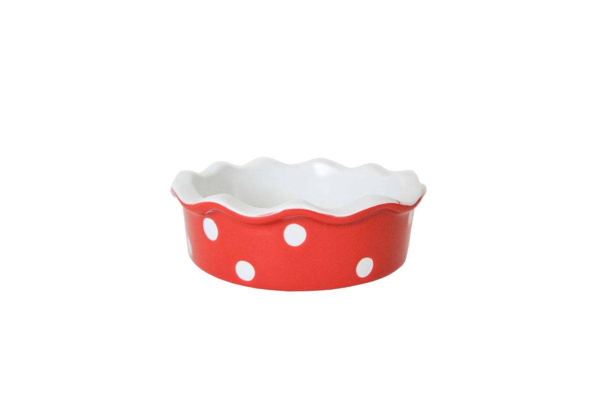 Kleine Quiche - / Tarte Form aus Keramik Rot mit weißen Punkten Ø 11,7 cm Isabelle Rose