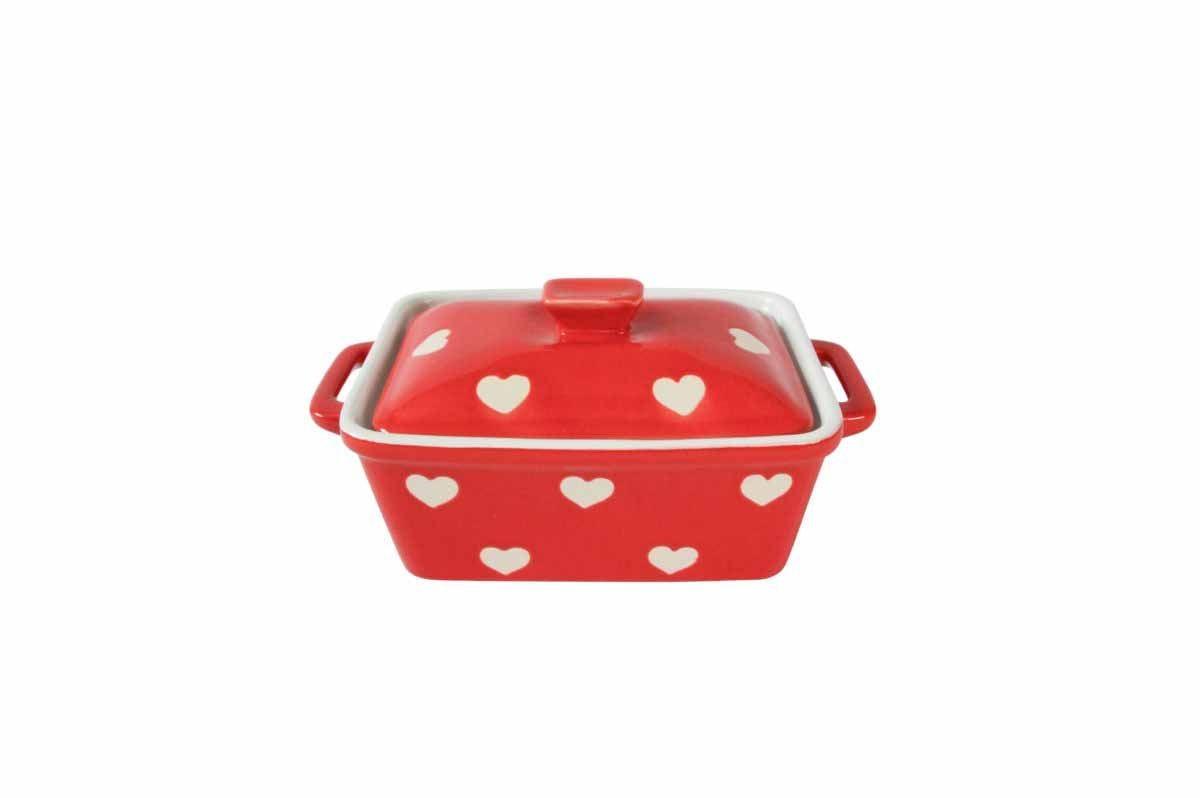 Butterdose oder Auflaufform Keramik Rot mit weißen Herzen