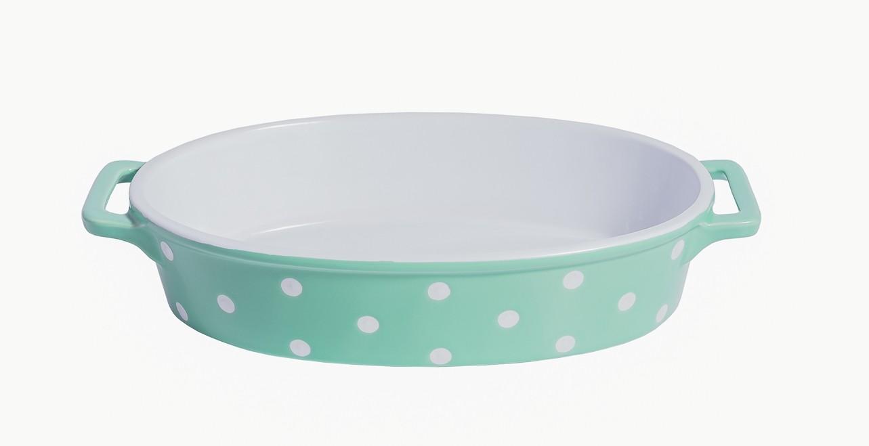 Ovale Auflaufform Keramik - Mintgrün mit weißen Punkten