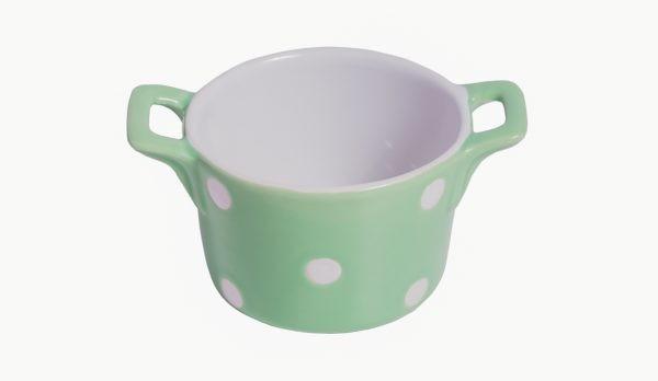 Muffin kleine Backform Keramik Mintgrün mit weißen Punkten