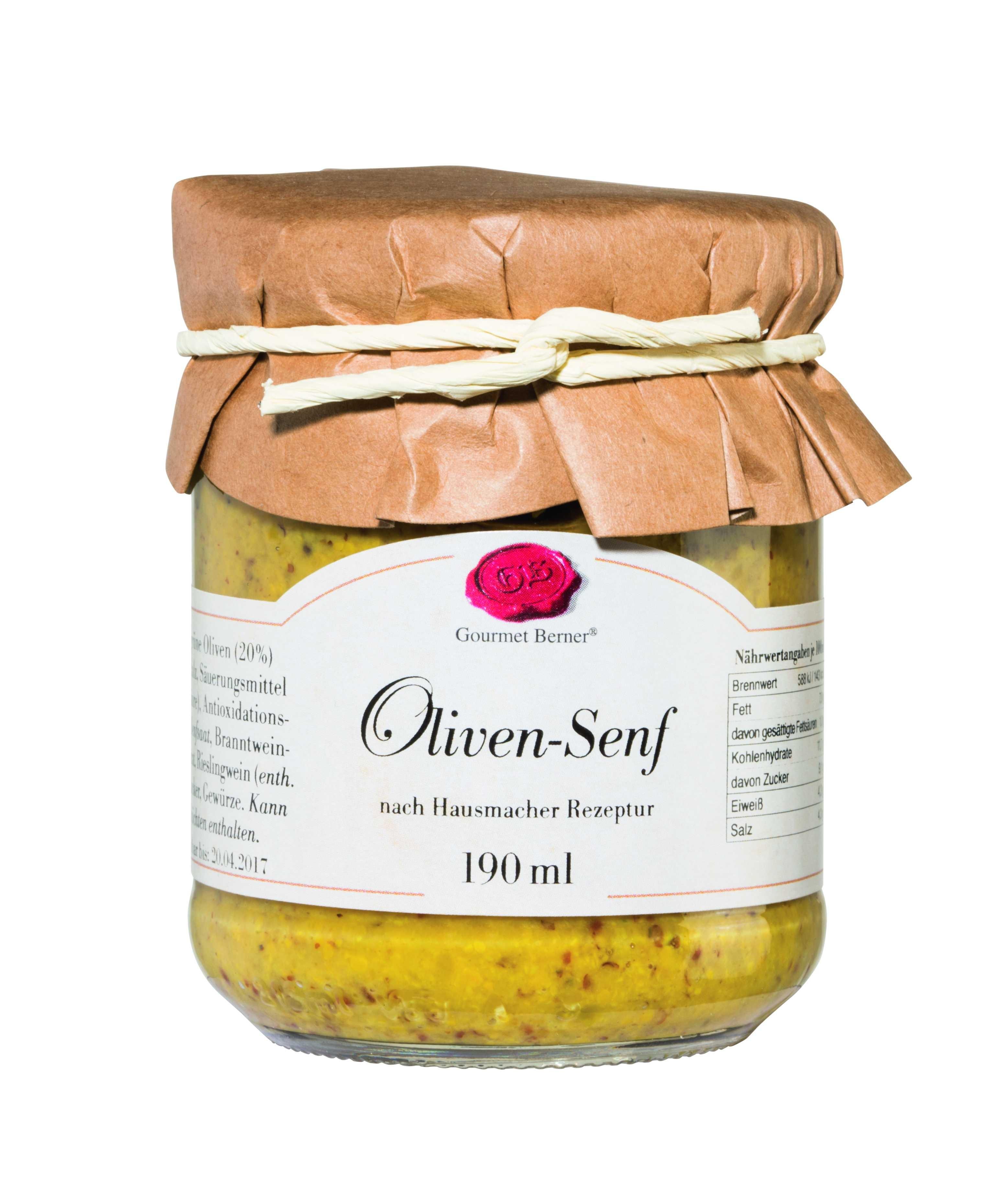 Oliven Senf grob im 190ml Glas