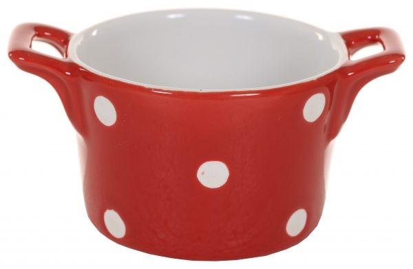 Muffin kleine Backform Keramik Rot mit weißen Punkten